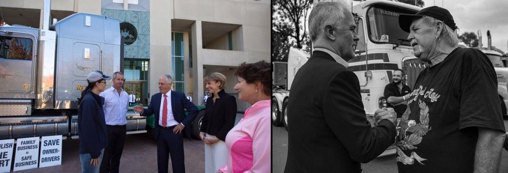 Malcolm Turnbull with truck drivers this week. Photos: Malcolm Turnbull / Facebook